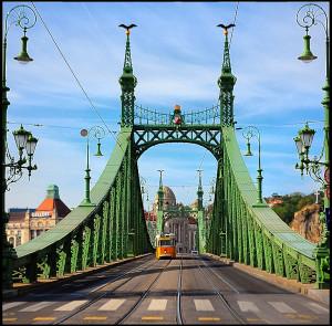 Budapest Liberty Bridge Streetcar