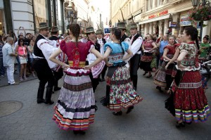 Matyo Folk Dance Ensemble in Vaci Street Danube Carnival Budapest